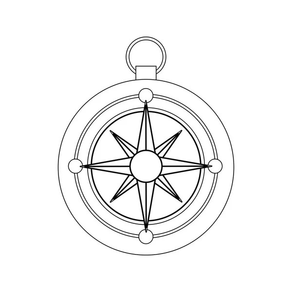 circular frame with silhouette compass star icon \u2014 Stock Vector