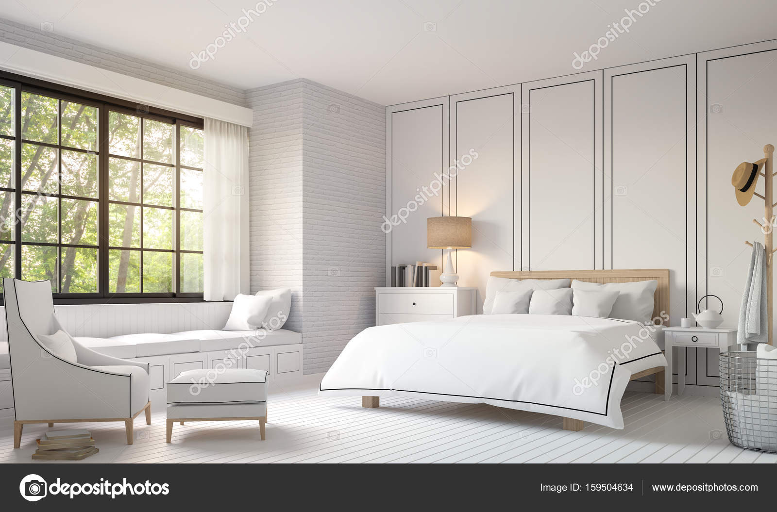 Chambre Moderne Vintage Modern Vintage Bedroom With Black And White 3d Rendering