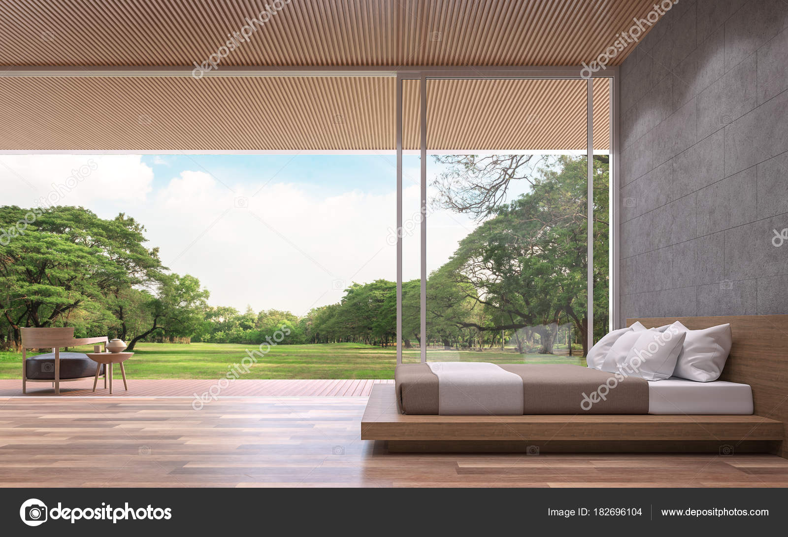 Concrete Rooms Modern Contemporary Bedroom Rendering Image Rooms Have Wooden
