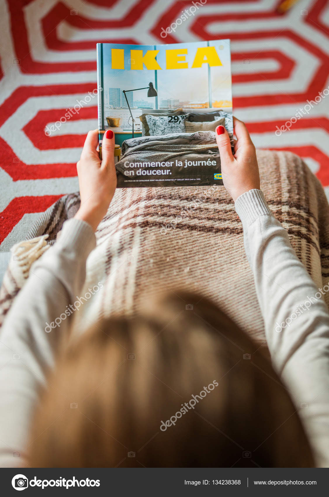 Download Ikea Catalog Woman Reading Ikea Catalog Cover Before Furnishing House
