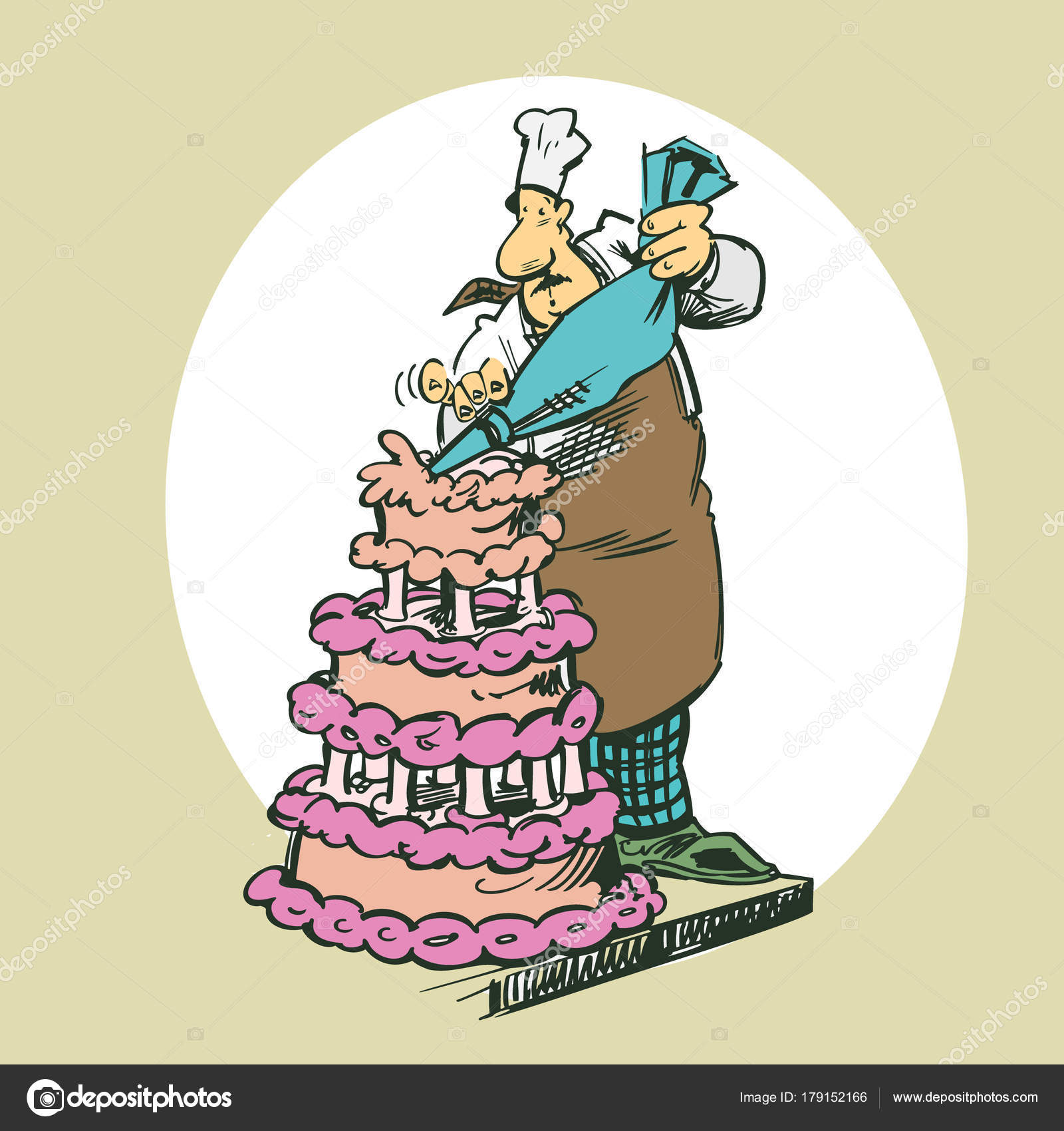 Kuchen Clipart Bäcker Machen Kuchen Cliparts Cartoon Illustration Vektor