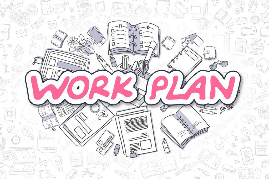 Work Plan - Cartoon Magenta Word Business Concept \u2014 Stock Photo