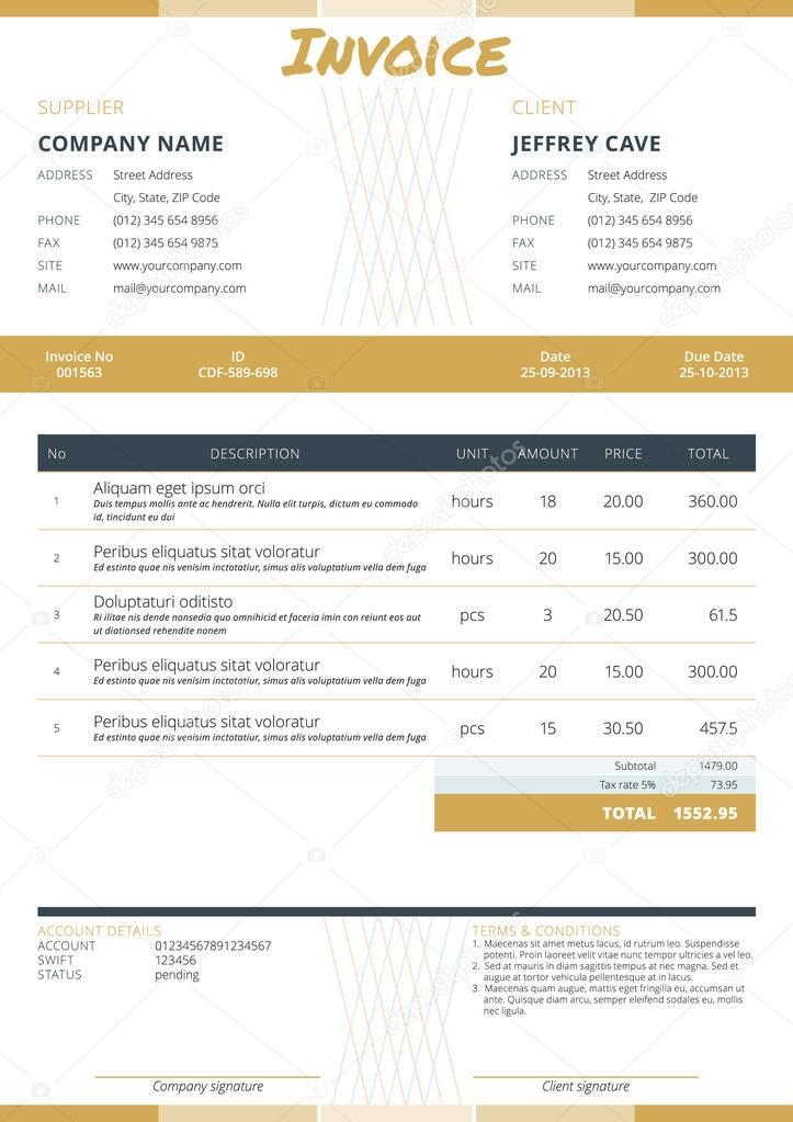 Plantilla de factura comercial Diseño de papelería Ilustración de