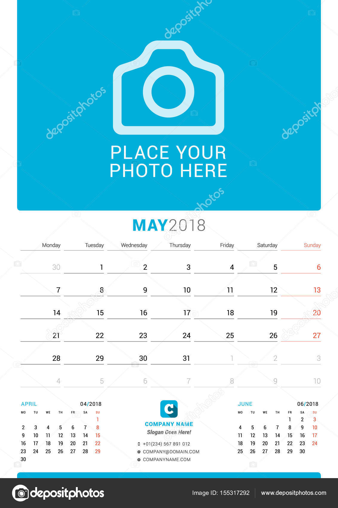 May 2018 Wall Monthly Calendar for 2018 Year Vector Design Print