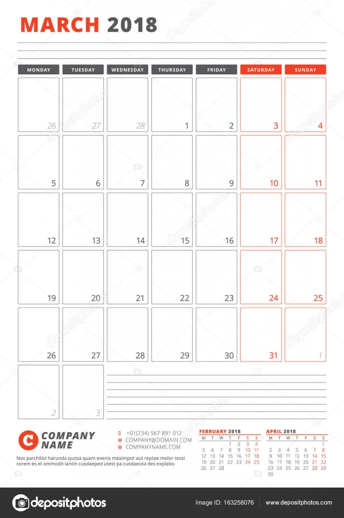 Calendar Template for March 2018 Business Planner 2018 Template - march calendar template