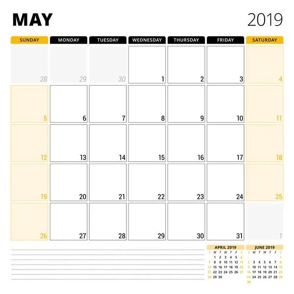 May 2018 Calendar planner design template Week starts on Sunday