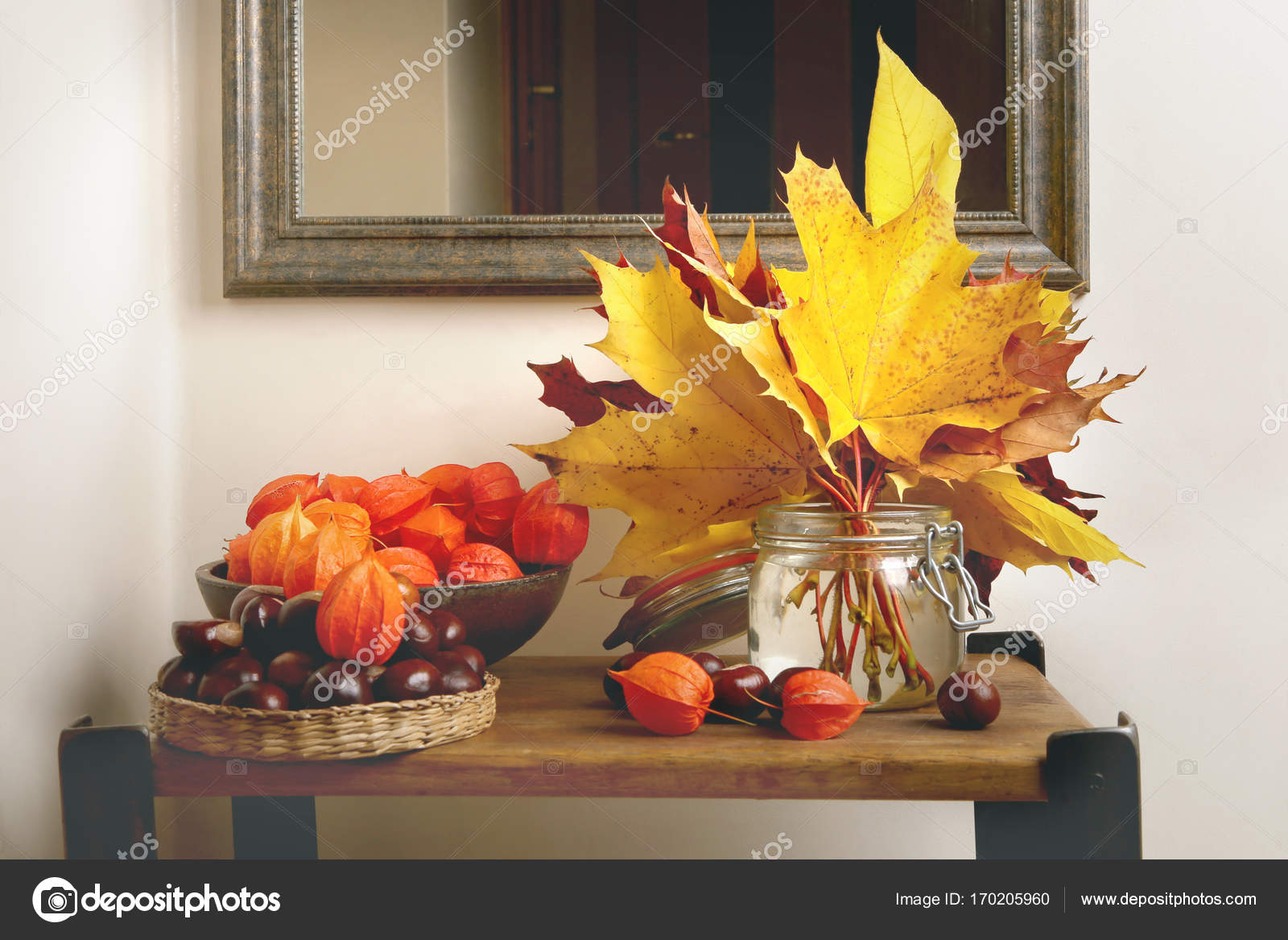 Herfst Interieur Herfst Plant Decoraties In Interieur Stockfoto Vaitekune