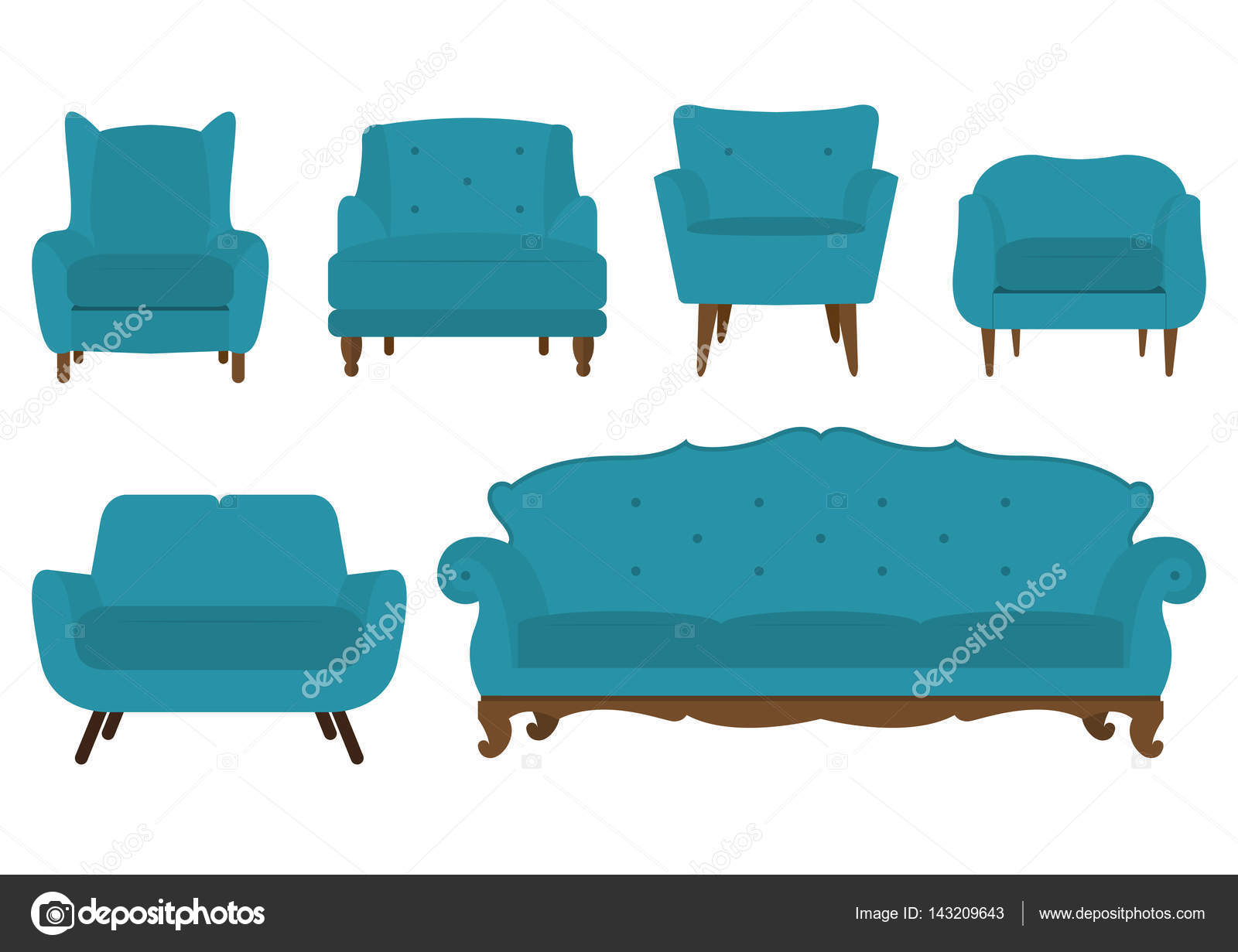 Set Of Chair Sofa And Armchair In Flat Design Vector Image By Tond Ruangwit Gmail Com Vector Stock 143209643
