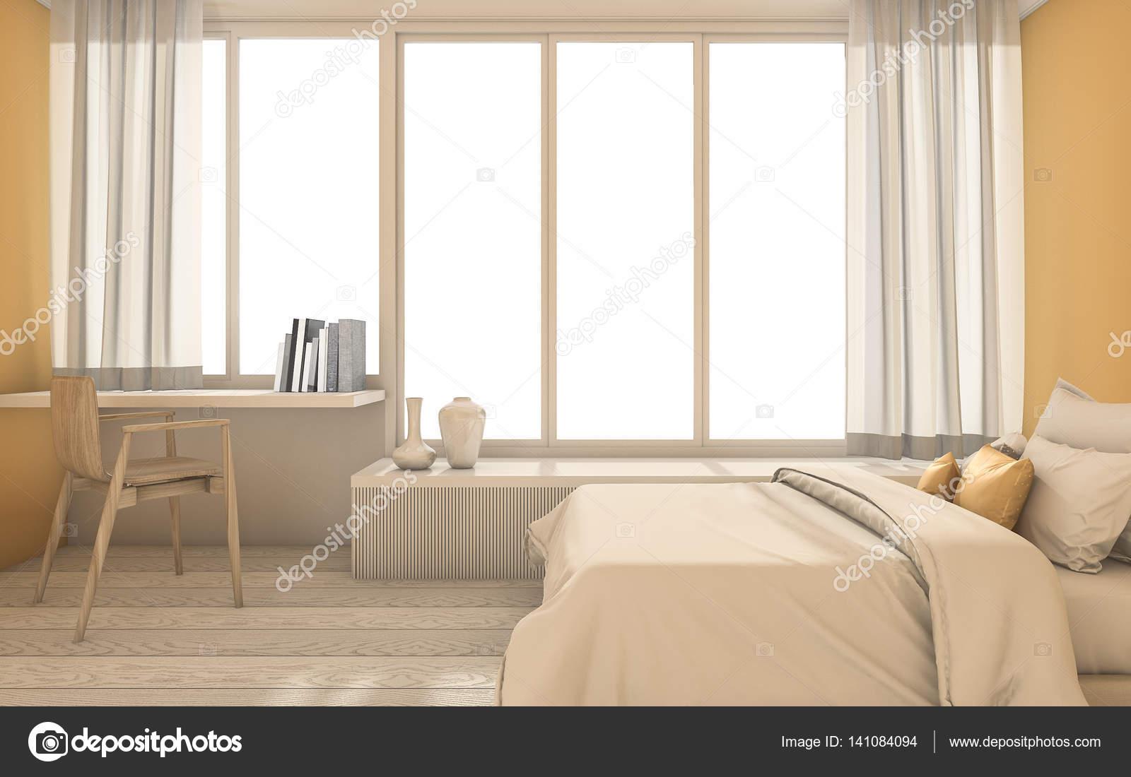 Genial Chambre Jaune 3d Rendu Minimal Avec Belle Décoration