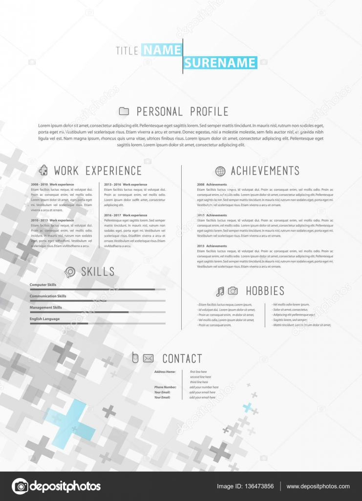 Creative simple cv template with grey plus signs in footer \u2014 Stock