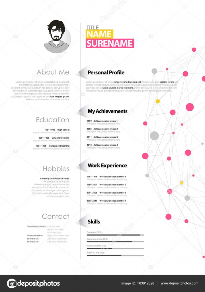 Creative simple cv template with yellow and pink circles and dot