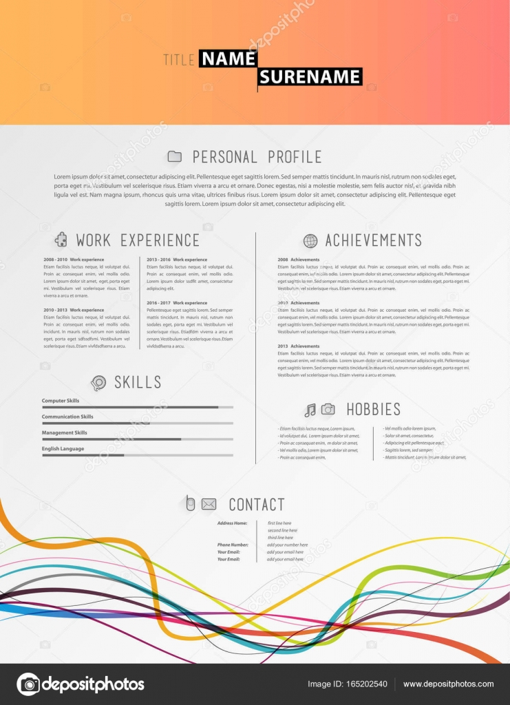 Creative simple cv template with colorful lines at the footer