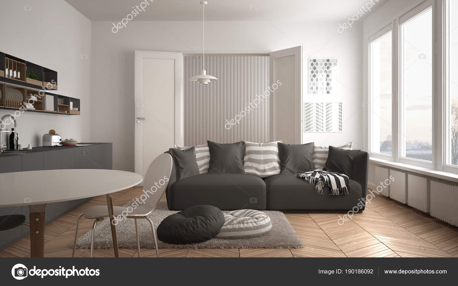 Modern Living Room With Kitchen Interior Design Scandinavian Modern Living Room With Kitchen Dining Table Sofa