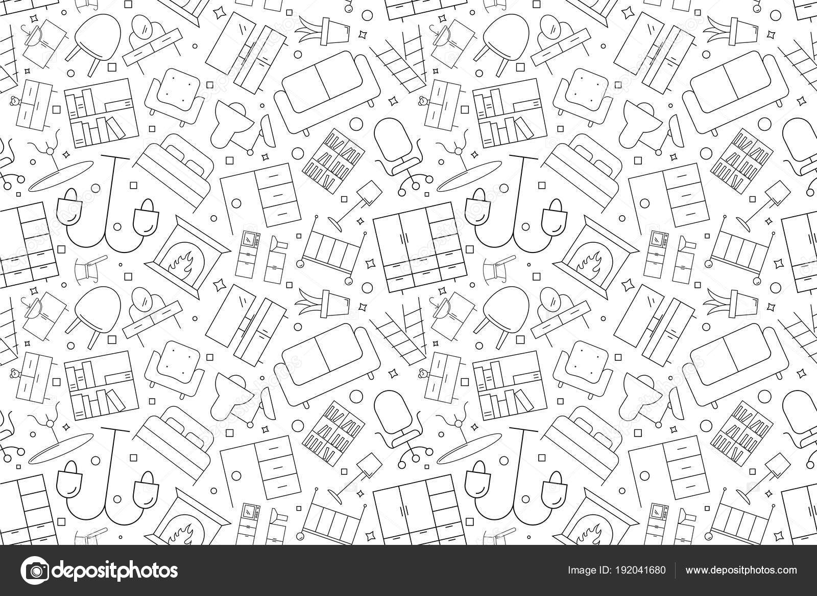 Sofa Texture Vector Vector Furniture Pattern Furniture Seamless Background Stock