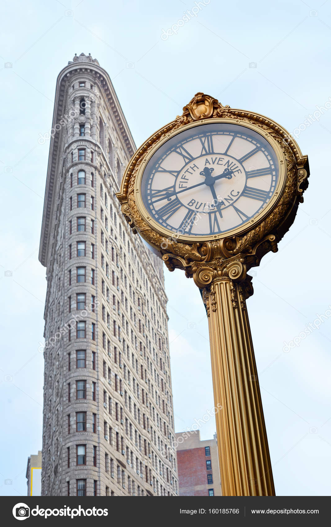 New York Klok Flatiron En Fifth Avenue Gebouw Gouden Klok In New York