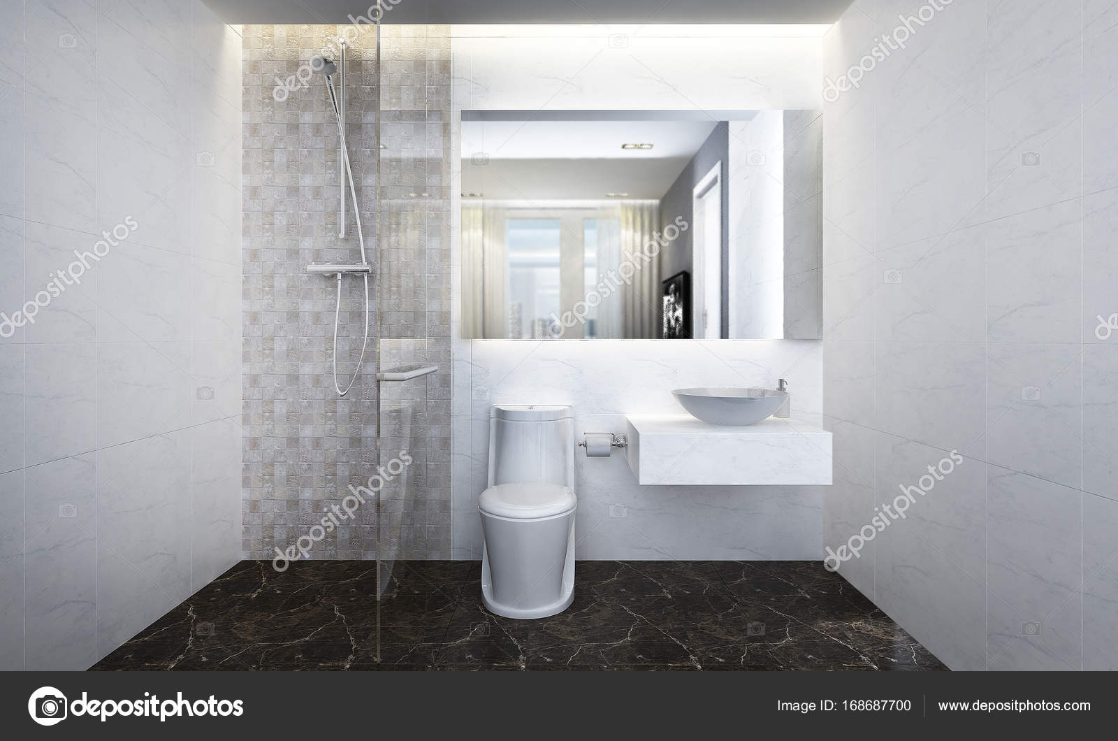 Innenarchitektur Badezimmer Minimale Innenarchitektur Im Bad Und Wc Stockfoto