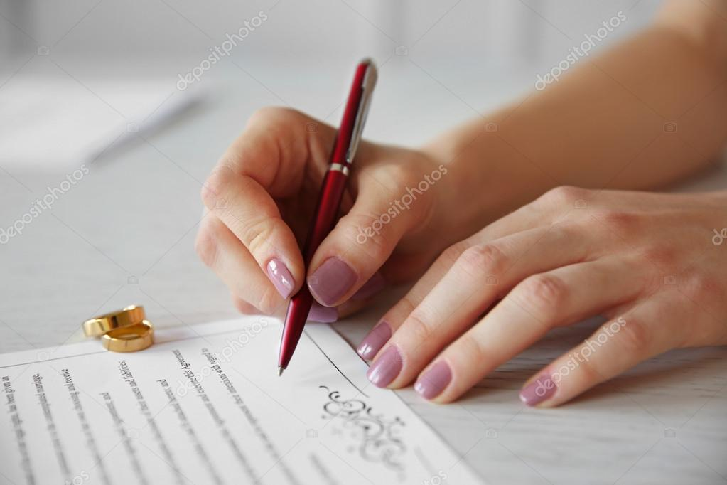 signing marriage contract \u2014 Stock Photo © belchonock #128258912