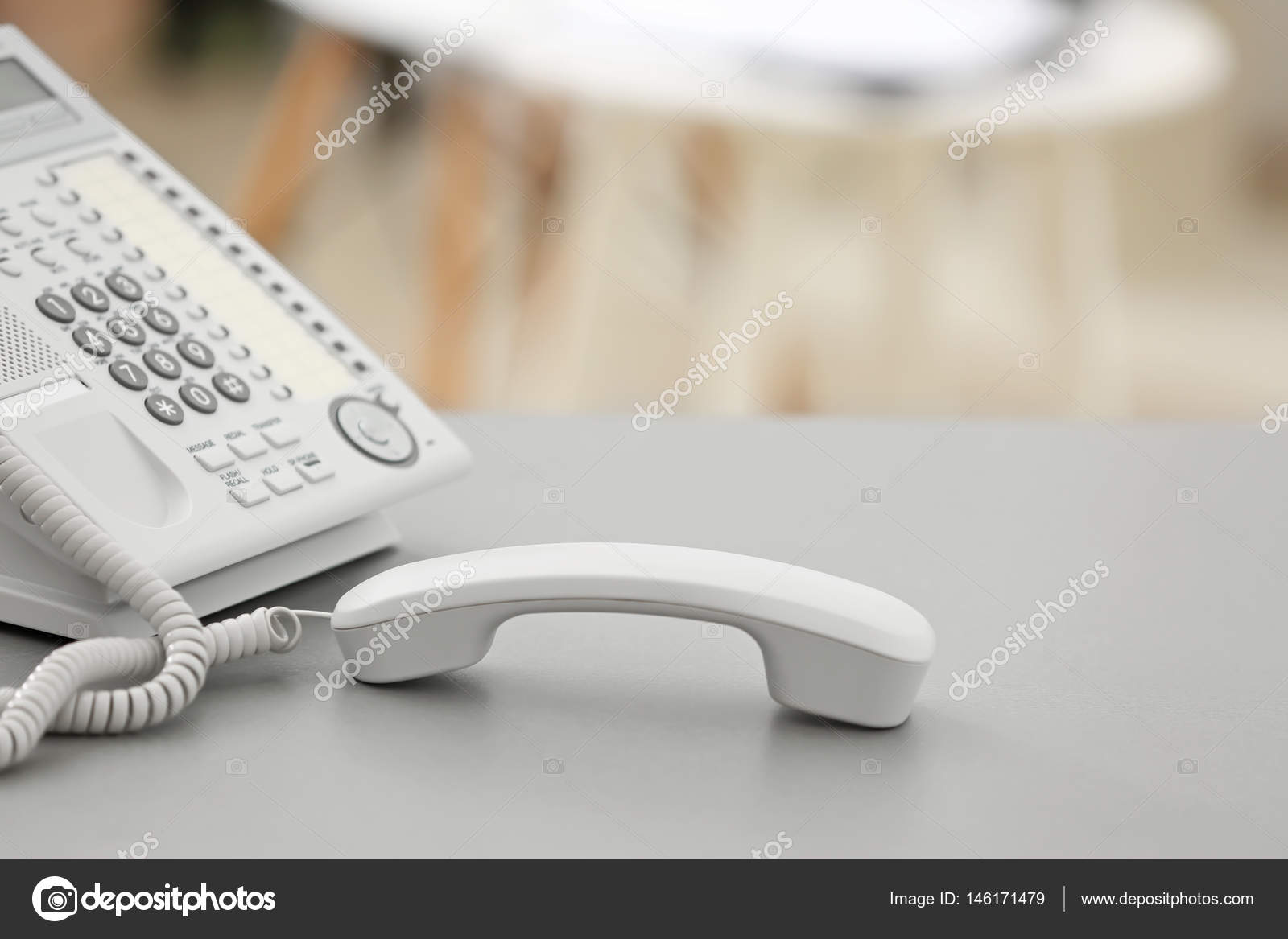 Chaise Longue Telephone Table Telephone With Picked Up Receiver Stock Photo Belchonock