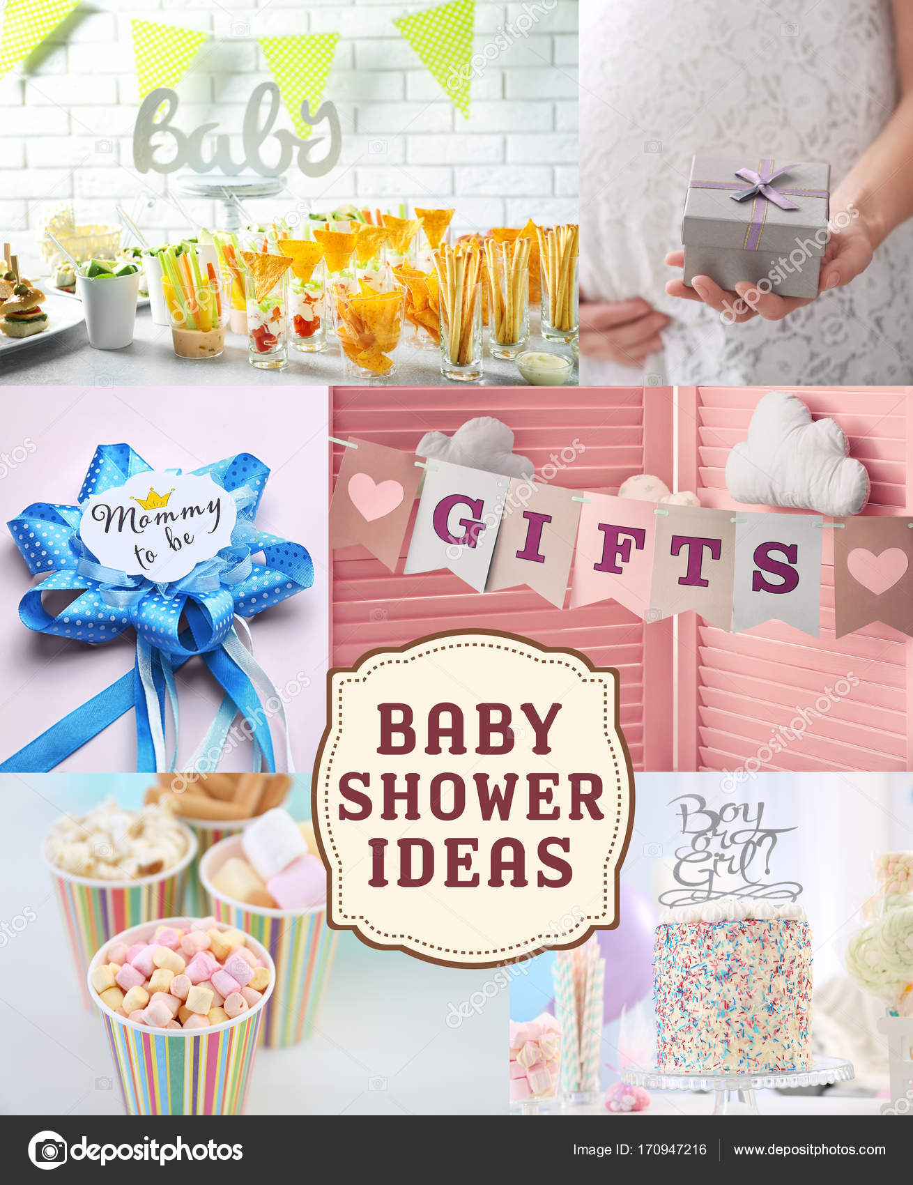 Collagen Ideen Collage Mit Ideen Für Baby Shower Party Stockfoto Belchonock