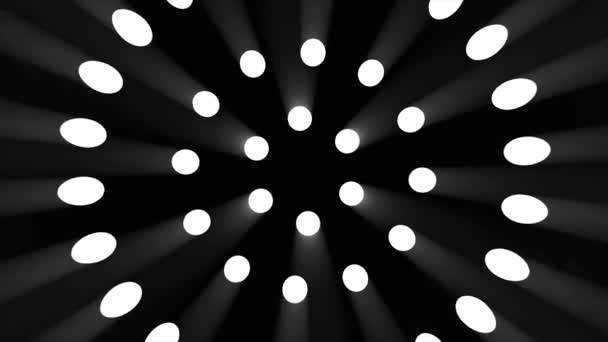 Animation of rotating circles made of spotlights on black background