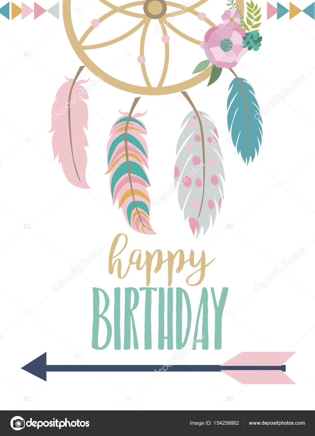 Happy birthday card template in boho style \u2014 Stock Vector © Vissay