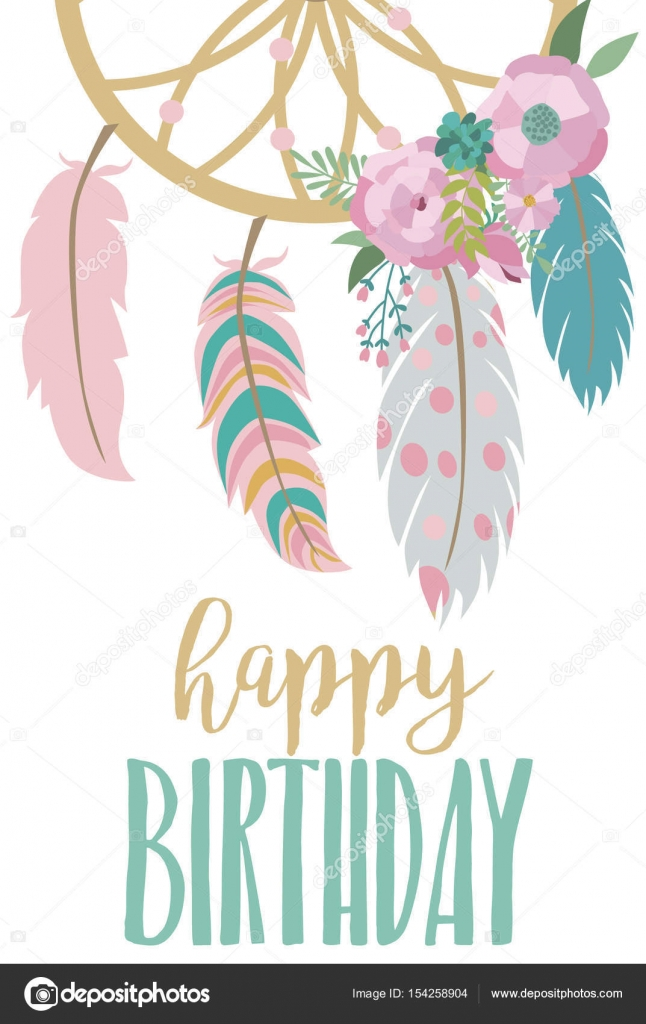 Happy birthday card template in boho style \u2014 Stock Vector © Vissay - template for a birthday card