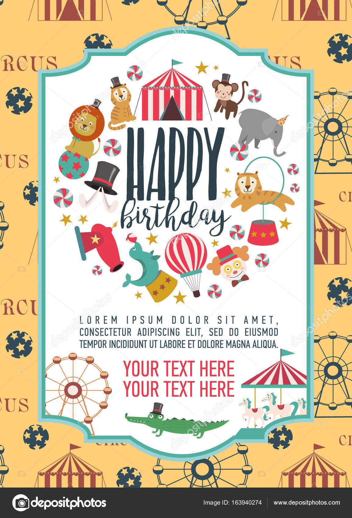 Happy Birthday invitation for circus party \u2014 Stock Vector © Vissay - circus party invitation