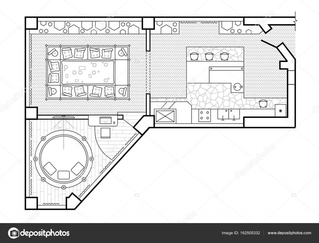 Plan Veranda Floor Plan Top View The Interior Design Terrace The Cottage Is