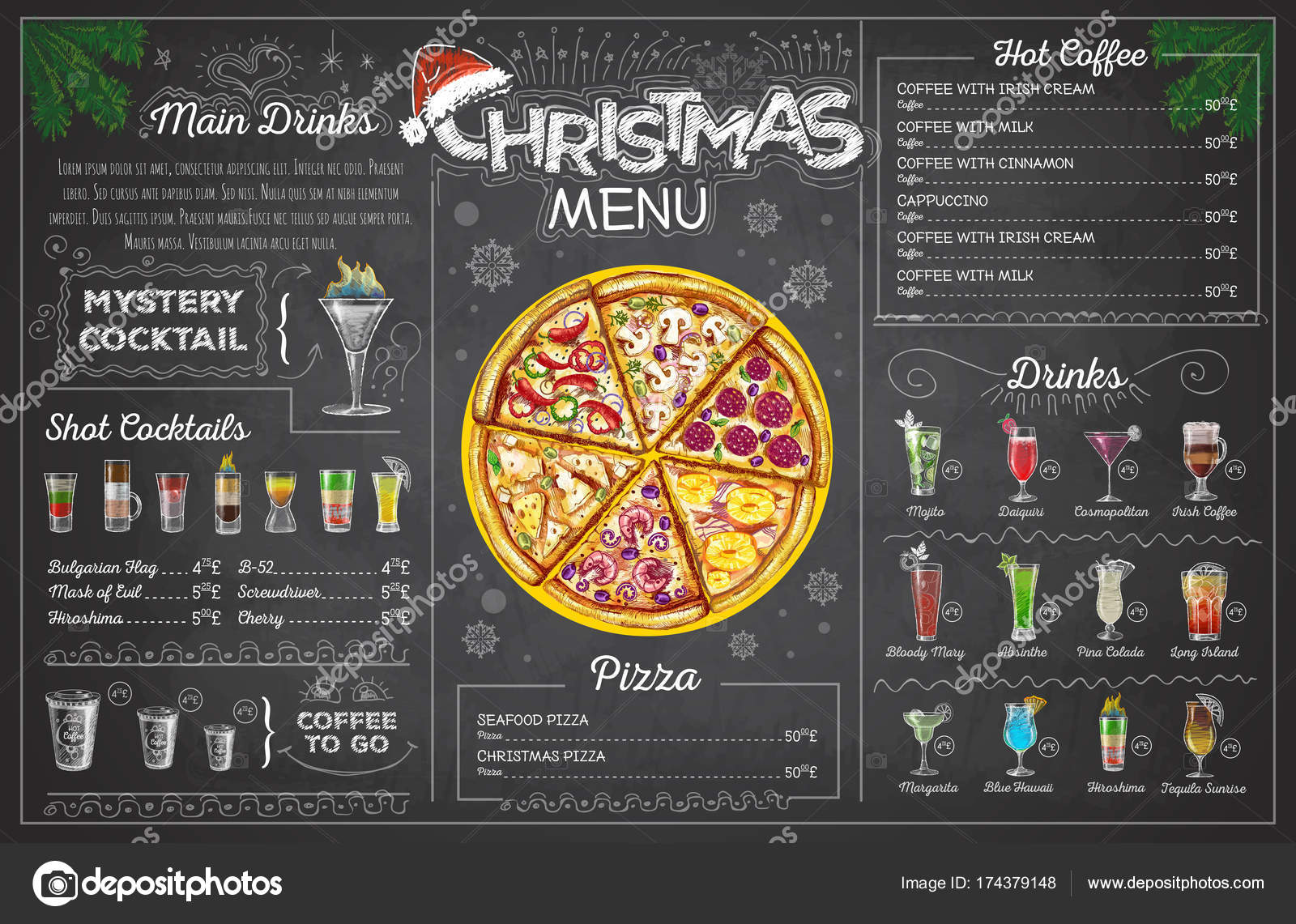 Vintage chalk drawing christmas menu design Restaurant menu \u2014 Stock