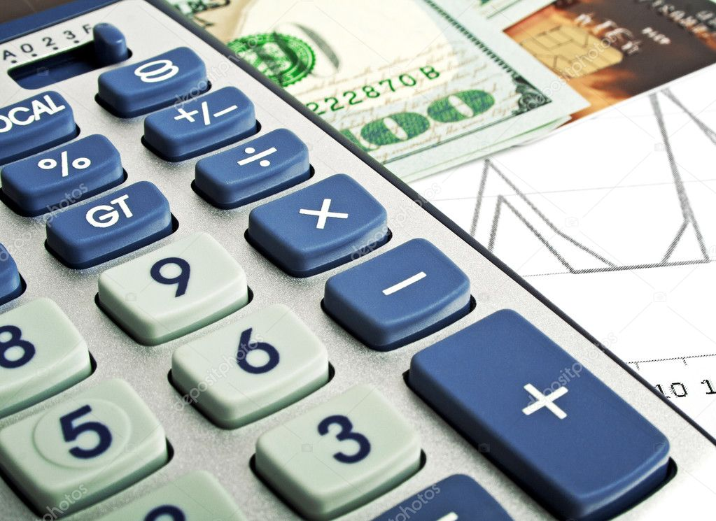 Business concept - credit card, calculator and money \u2014 Stock Photo