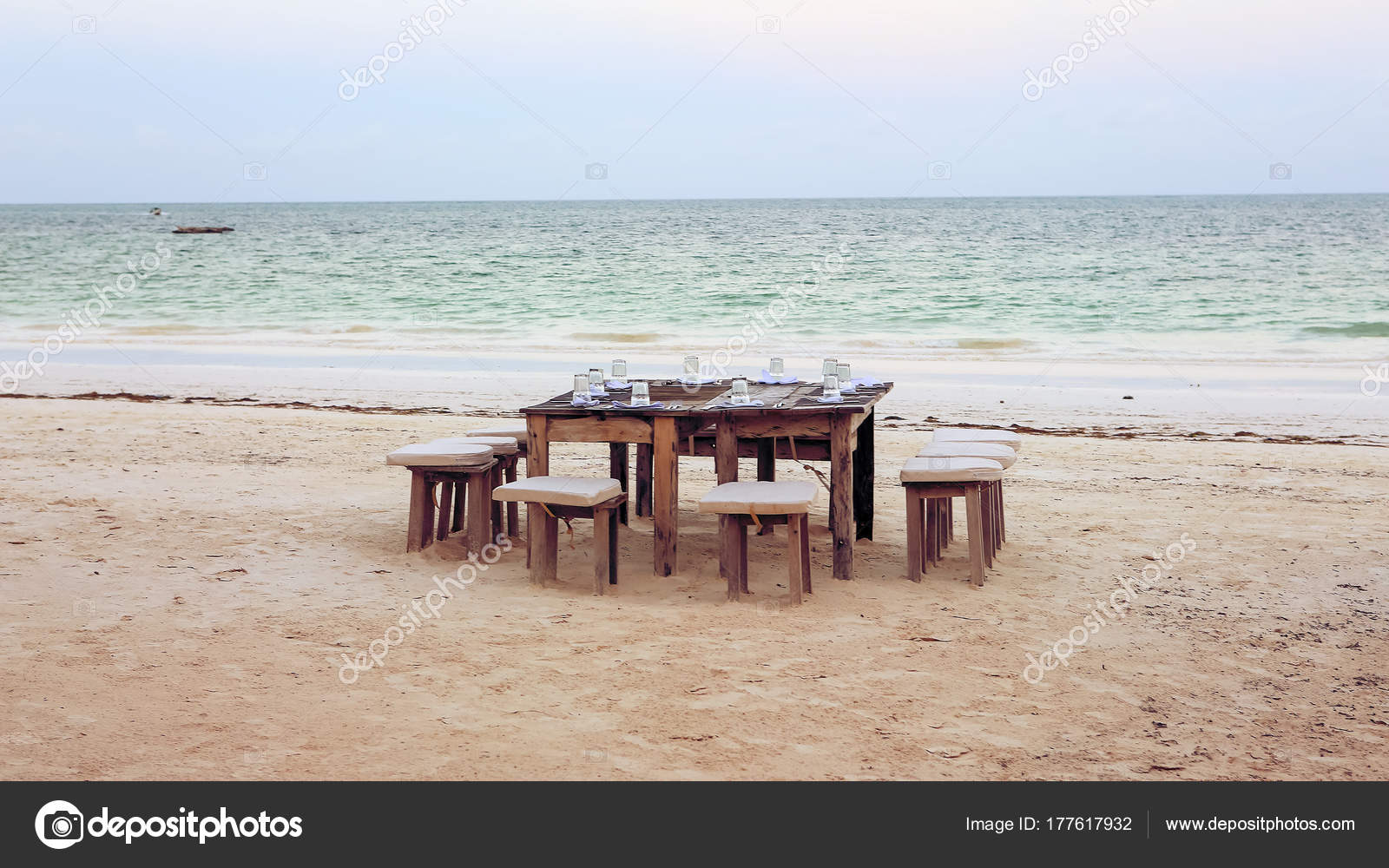 Wooden Table And Chairs On The Beach Furniture For Lounging On Stock Photo Image By Blackroomstudio 177617932