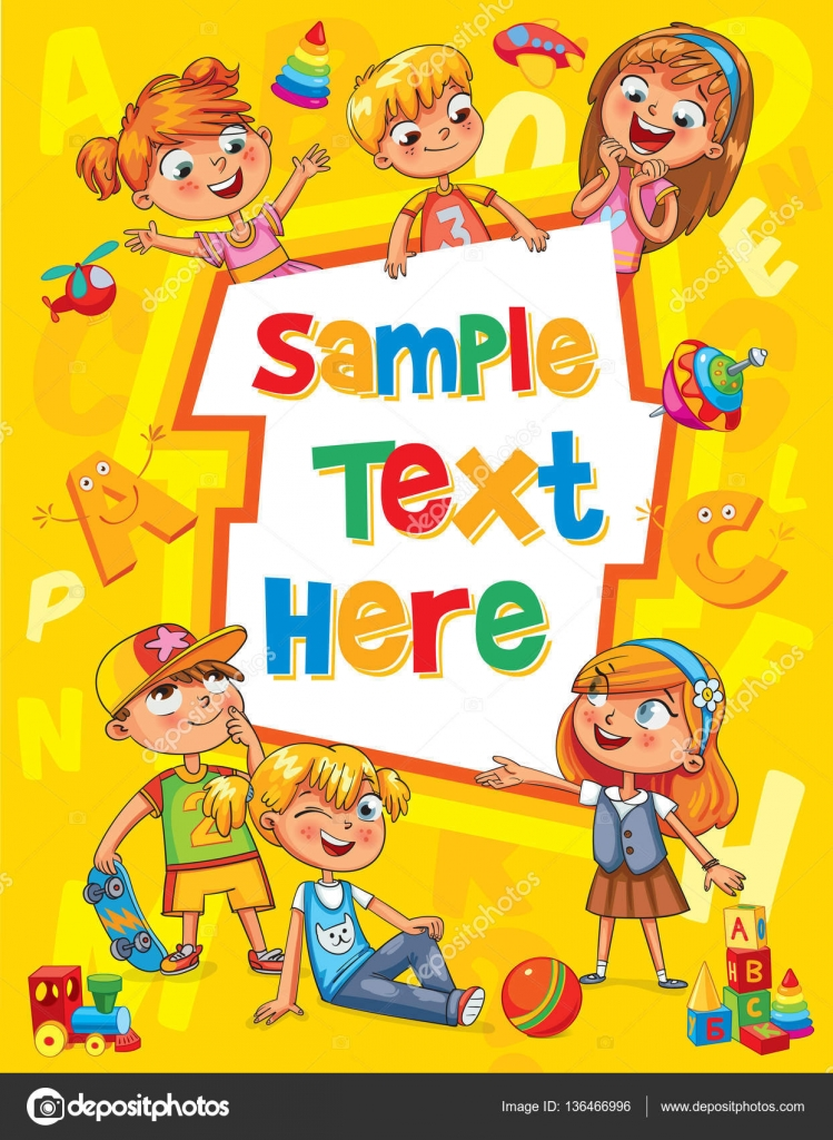 Children book cover Template for advertising brochure \u2014 Stock