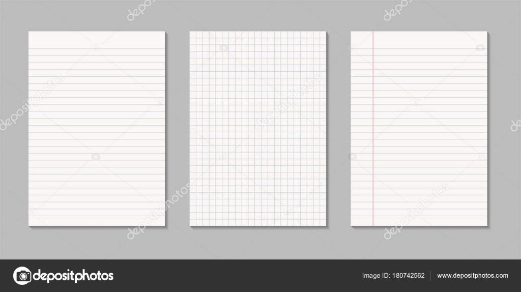 Set of realistic blank sheets of square and lined paper \u2014 Stock - blank sheet of paper with lines