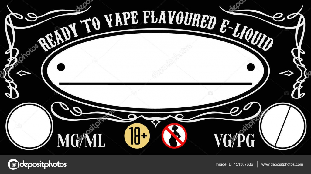vape e-liquid e-juice label sticker template for bottle \u2014 Stock