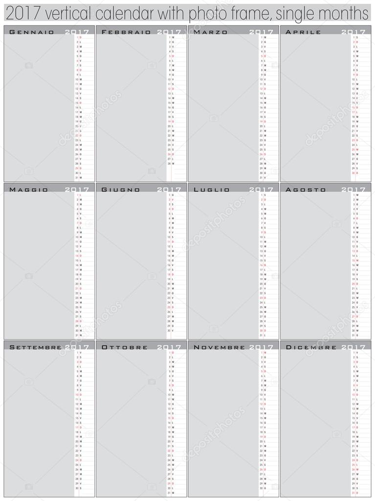 vertical days calendar 2017 template \u2014 Stock Vector © graphicjet