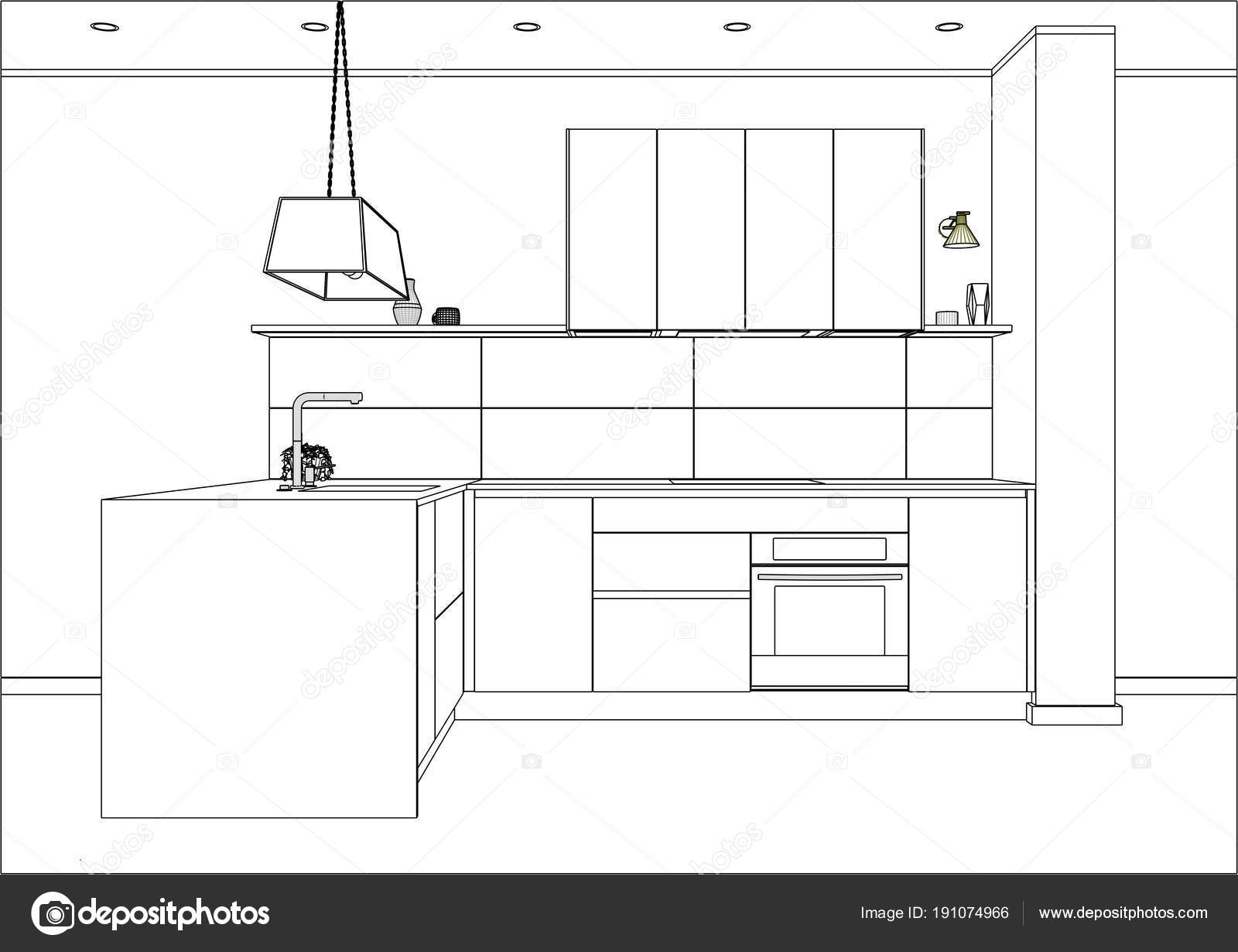 Modern Kitchen Design Plans 3d Vector Sketch Modern Kitchen Design In Home Interior Stock