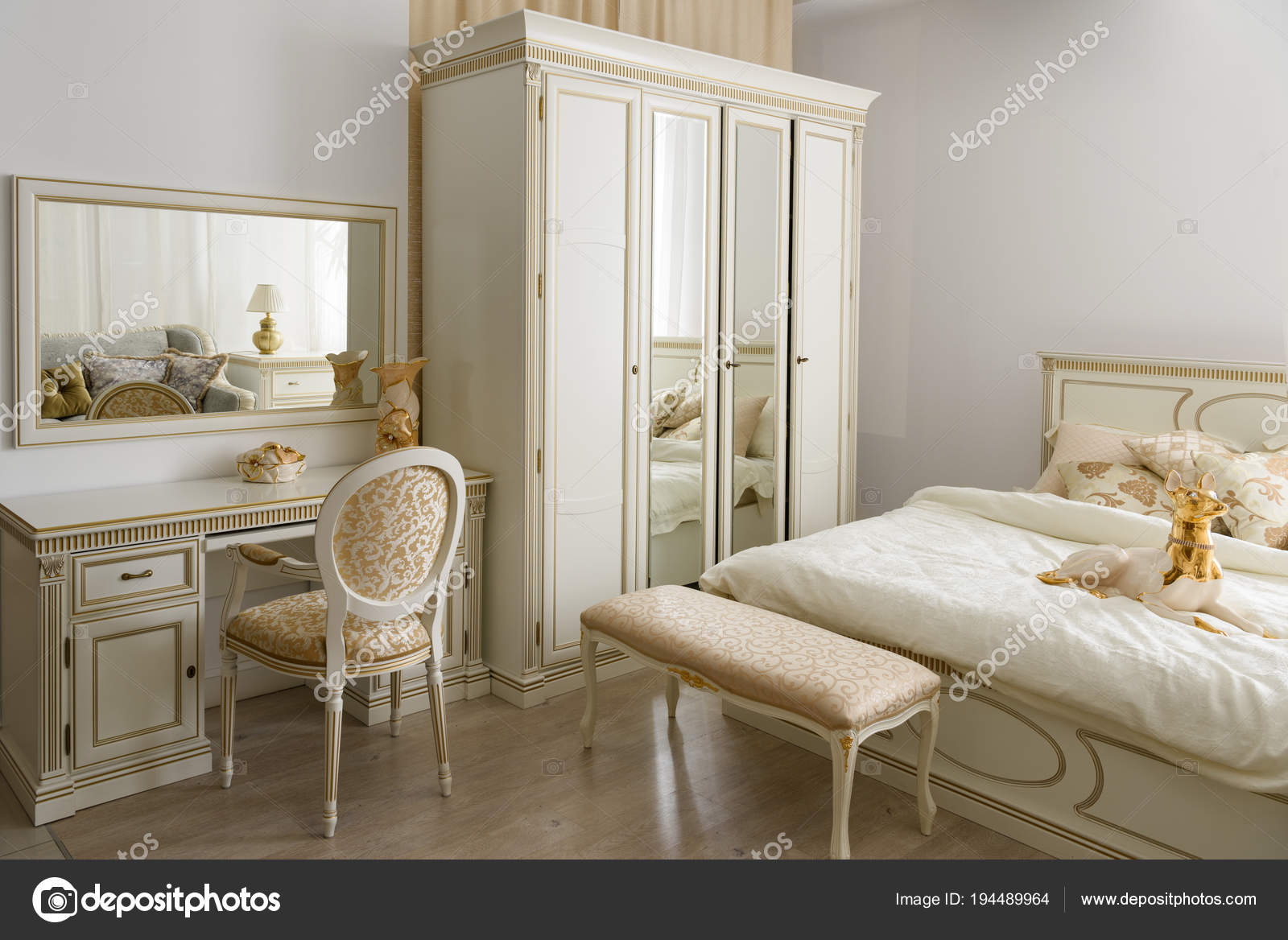 Dressing A Bed Elegant Dressing Table Bed Stylish Room Stock Photo