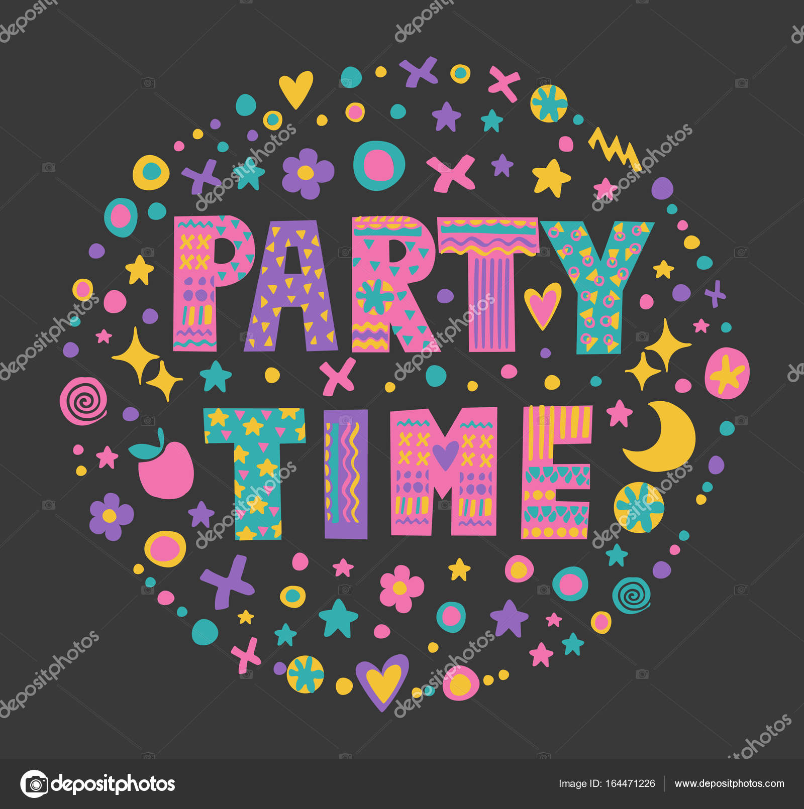 Party Time Word Art Party Time Stock Vector Meowlina Meow 164471226