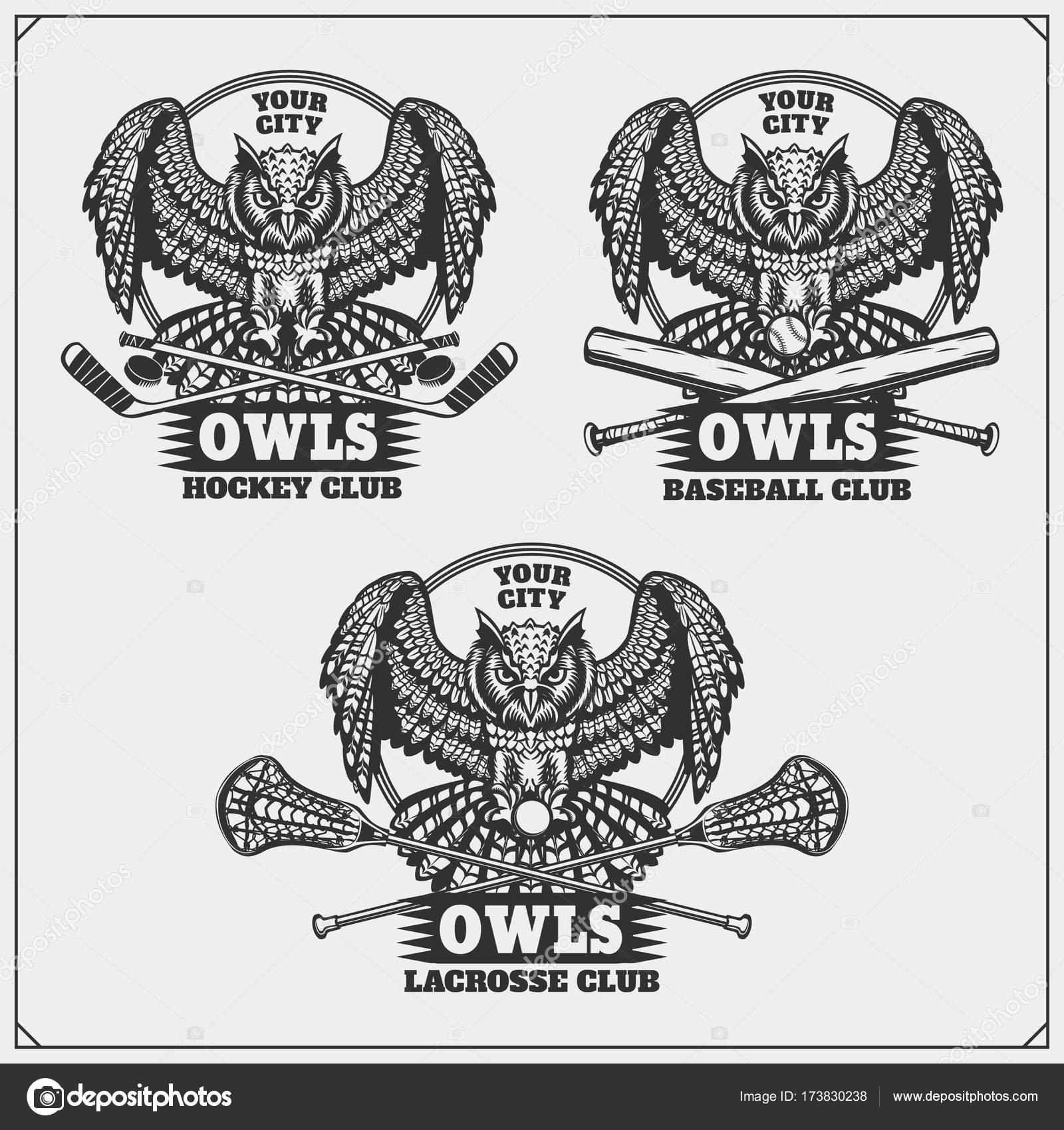 Hockey Logos Lacrosse Baseball And Hockey Logos And Labels Sport Club Emblems