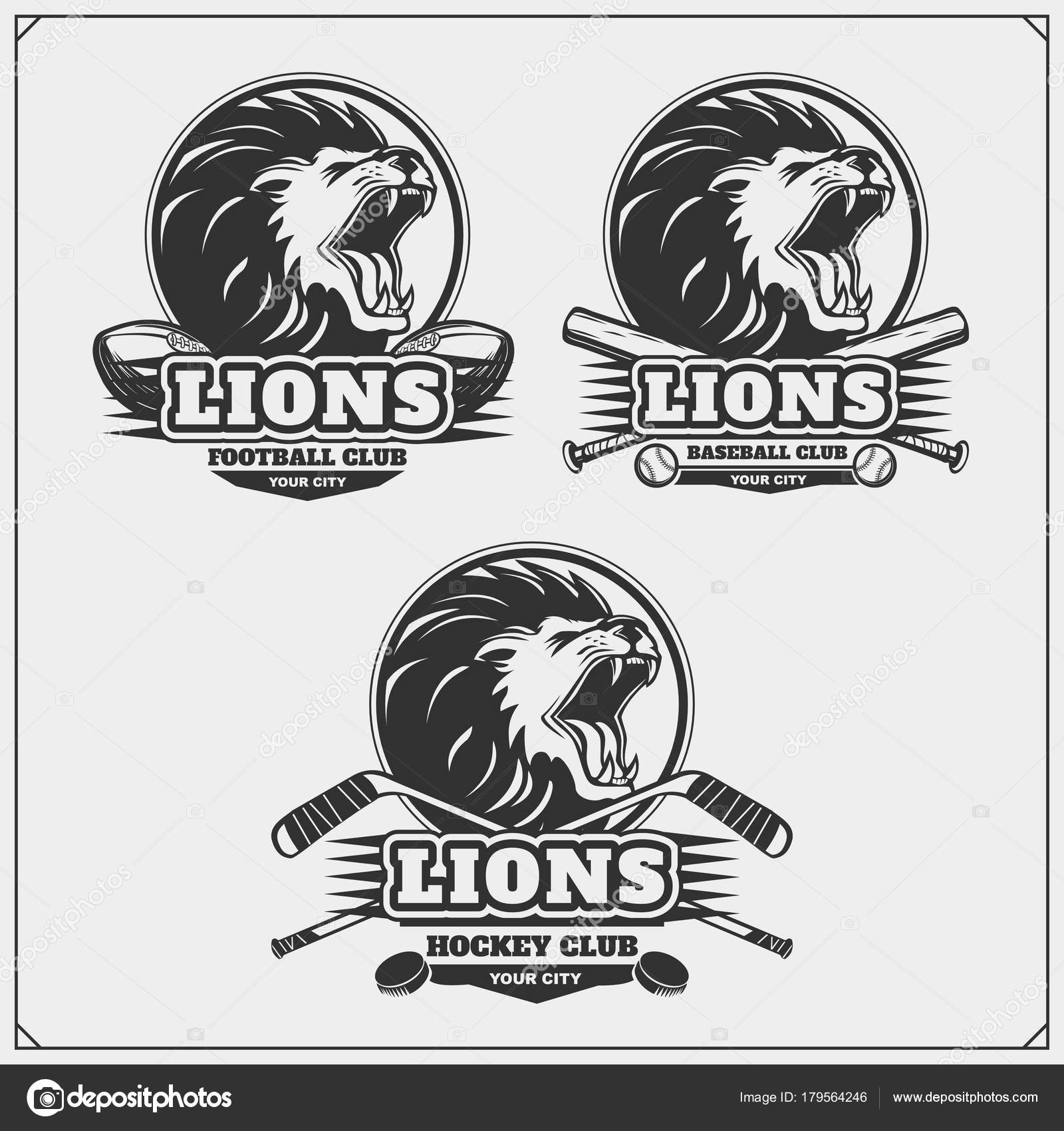 Hockey Logos Football Baseball Hockey Logos Labels Sport Club Emblems Lion