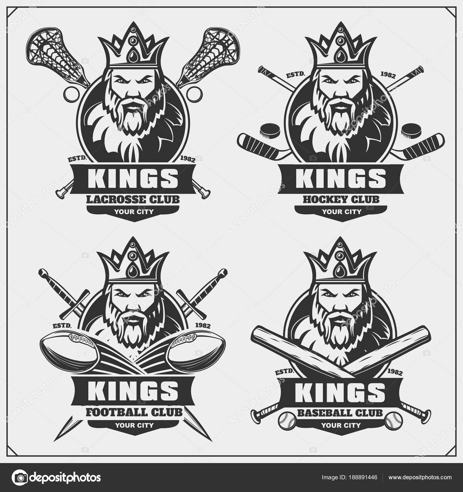 Hockey Logos Lacrosse Football Baseball Hockey Logos Labels Sport Club Emblems
