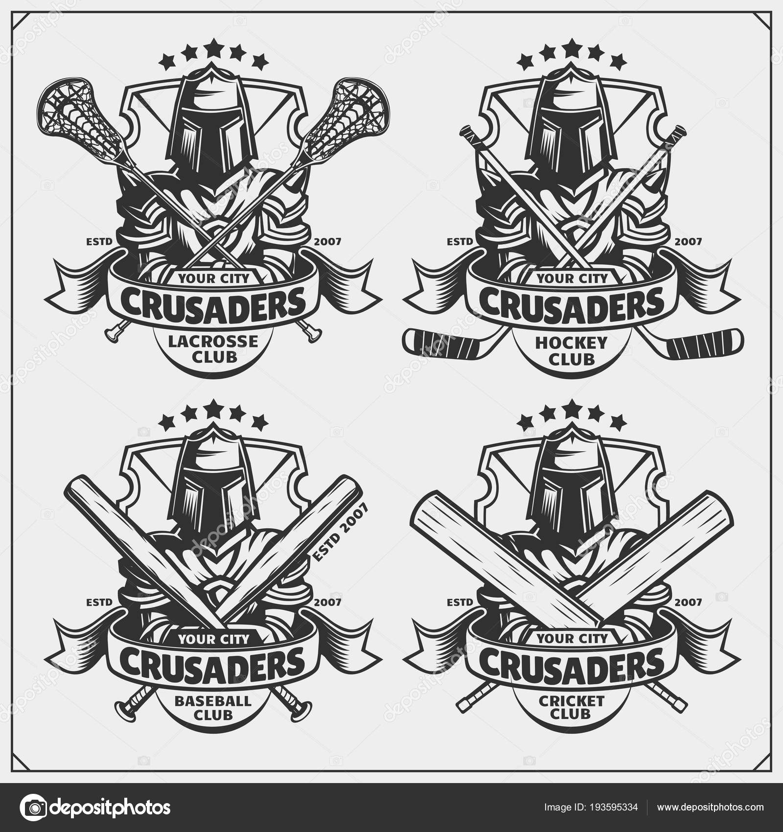 Hockey Logos Cricket Baseball Lacrosse Hockey Logos Labels Sport Club Emblems