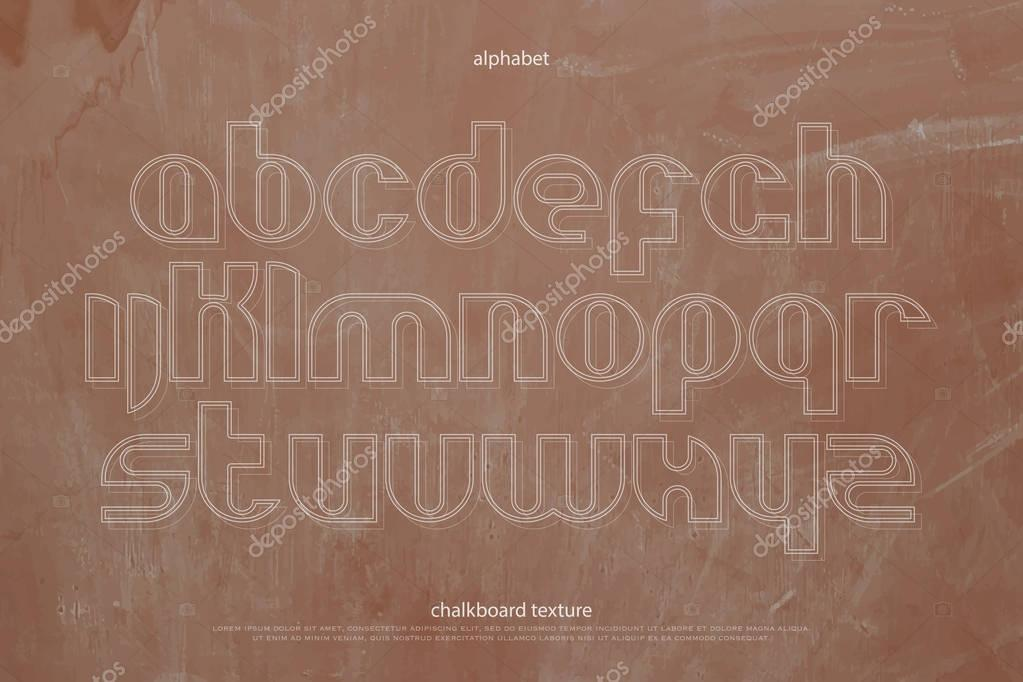 school, alphabet letters over chalkboard texture vector font type - chalkboard writing template