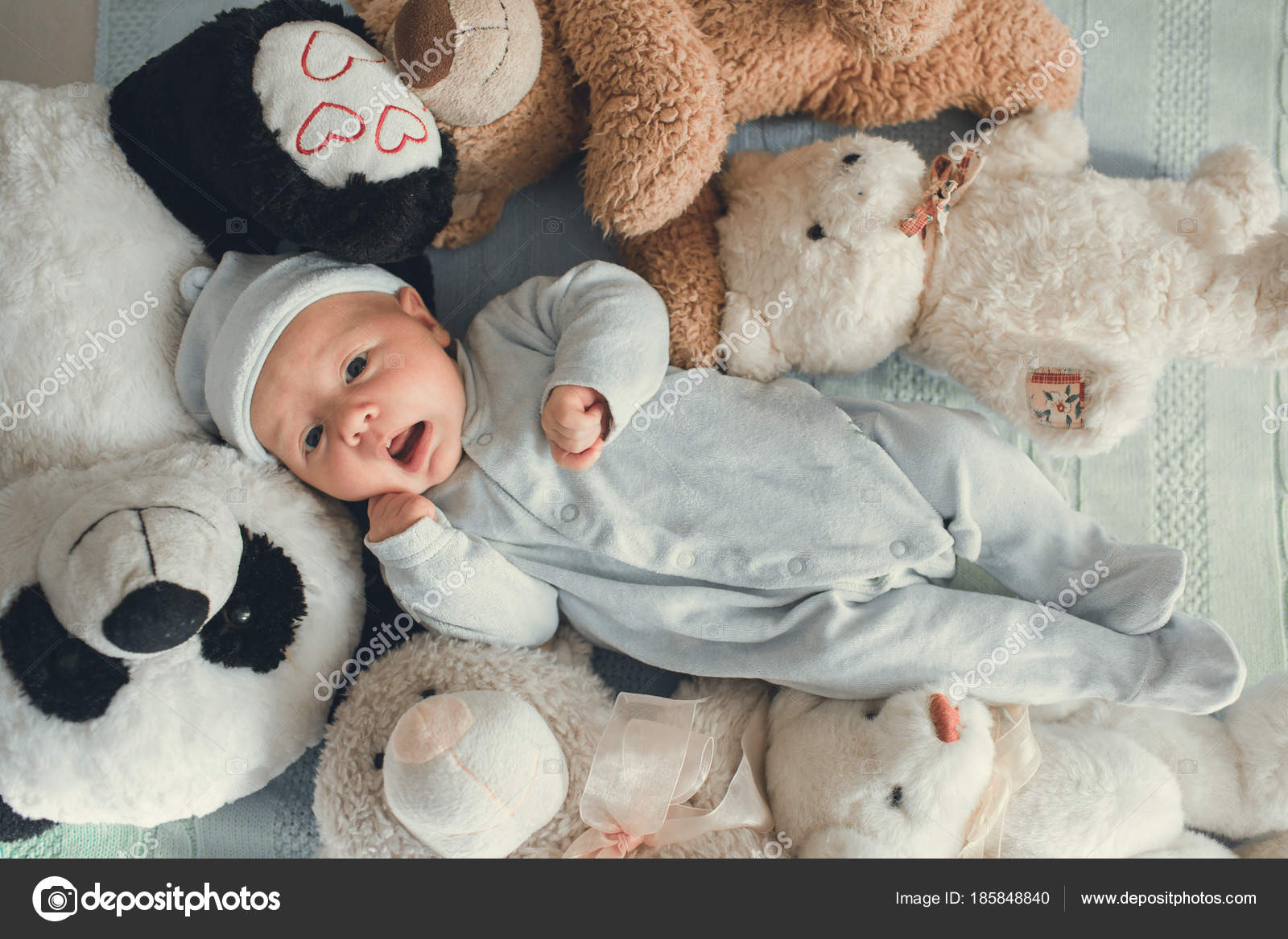 Baby Newborn Teddy Newborn Baby Laying With Five Teddy Bears On Blanket Stock
