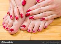 Neatly painted toenails and fingernails  Stock Photo ...