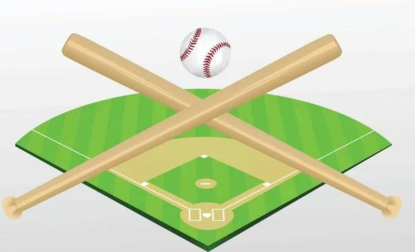 Baseball Field with Softball Crossed Bats Vector Image Template - baseball field template