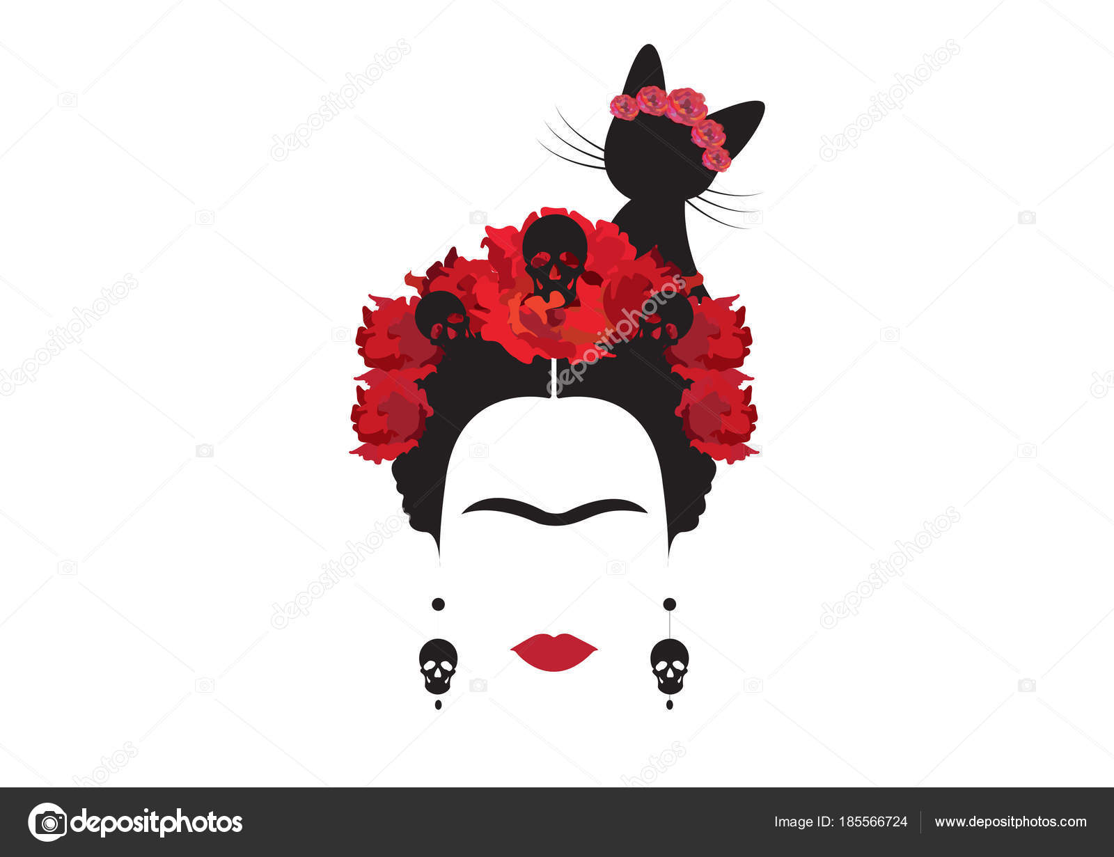 Black Cat Wallpaper Retrato Minimalista De Frida Kahlo Con Pendientes