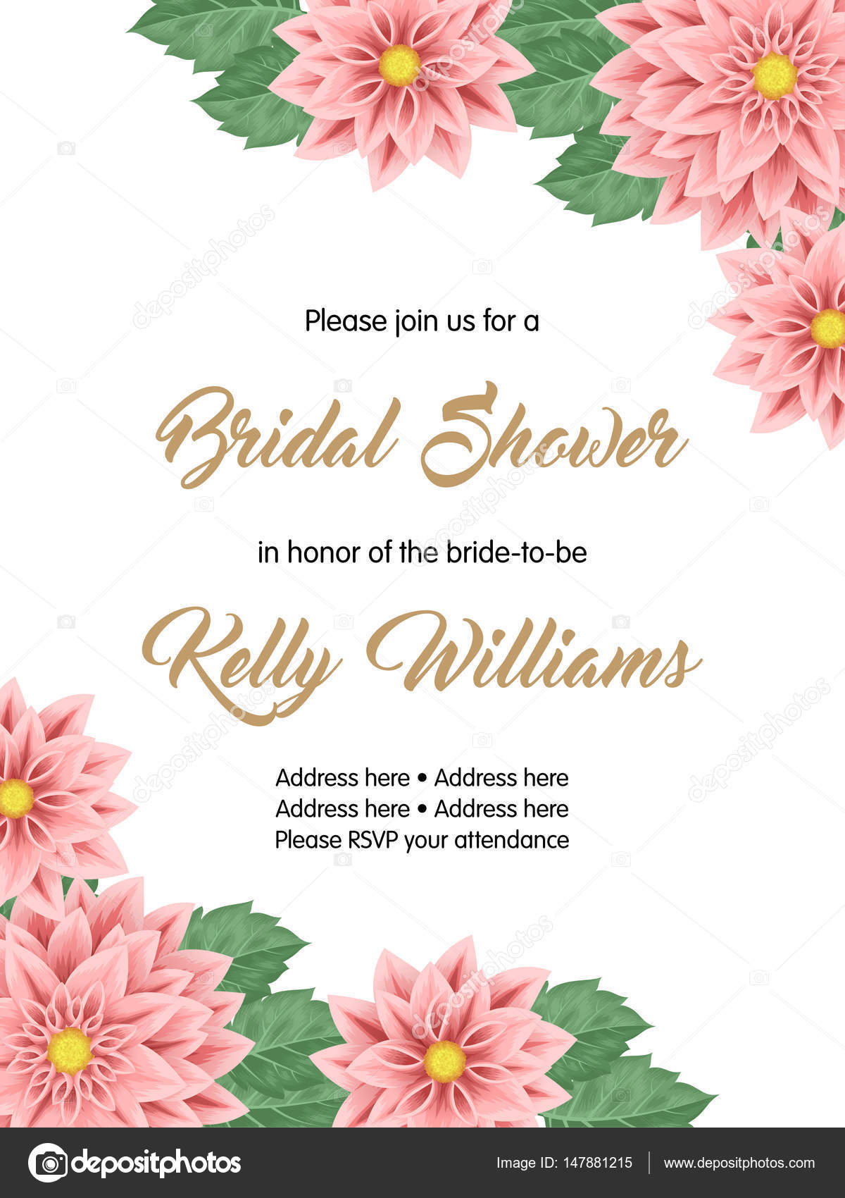 Bridal shower invitation template \u2014 Stock Vector © NonikaStar #147881215 - bridal shower invitation templates