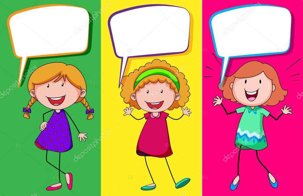 Speech bubble design with three girls \u2014 Stock Vector