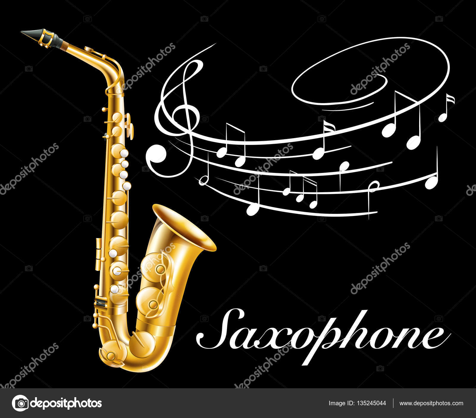 Poster design with saxophone and music notes stock vector 135245044